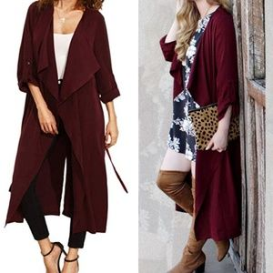 Chic long oversized trench cardigan/ duster